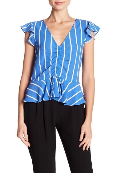 Imbracaminte Femei WAYF Striped Flutter Hem Blouse BLUE STRIPE