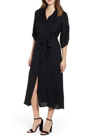 Imbracaminte Femei Lush Waist Tie Solid Linen Dress BLACK
