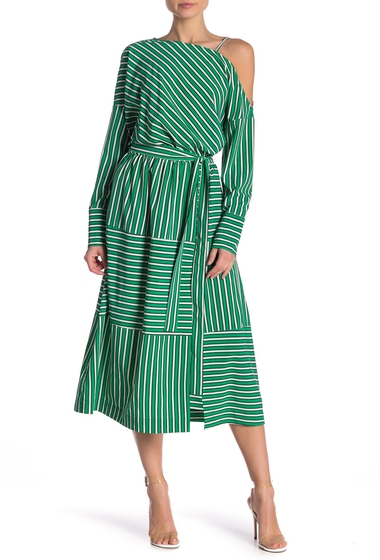 Imbracaminte Femei TOV Striped Belted Midi Dress GREEN