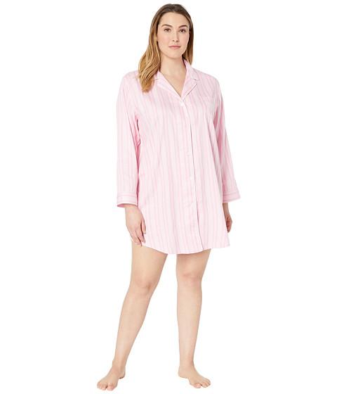 Imbracaminte Femei LAUREN Ralph Lauren Plus Size Pointed Notch Collar Sleepshirt Pink Stripe