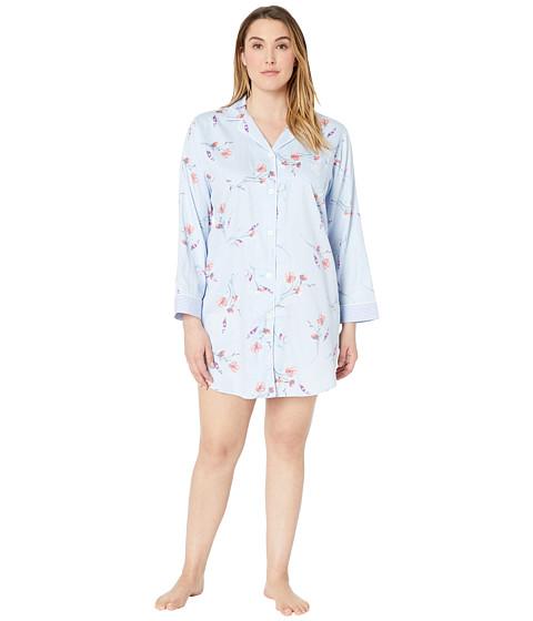 Imbracaminte Femei LAUREN Ralph Lauren Plus Size Pointed Notch Collar Sleepshirt Blue Floral Print