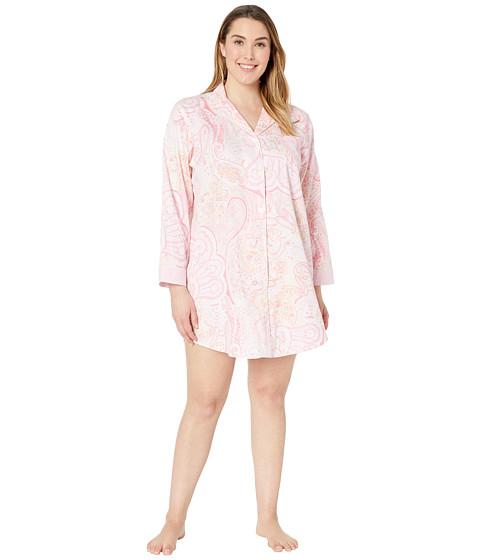 Imbracaminte Femei LAUREN Ralph Lauren Plus Size Pointed Notch Collar Sleepshirt Pink Paisley Print