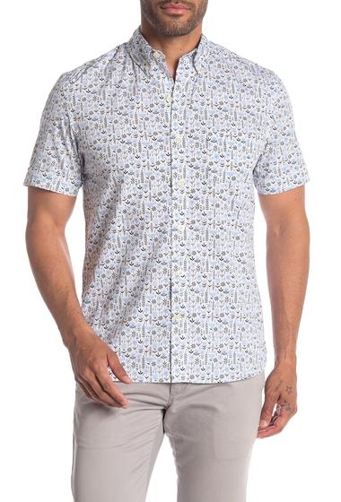 Imbracaminte Barbati Kennington Primitive Short Sleeve Floral Print Slim Fit Woven Shirt LIGHT BLUE