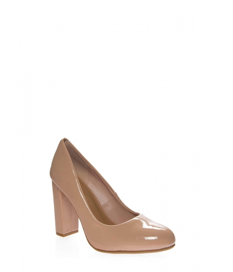 Incaltaminte Femei CheapChic My Chunky Heels Faux Patent Pumps Nude