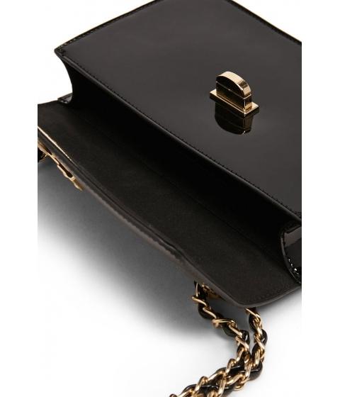 Genti Femei Forever21 Faux Patent Leather Crossbody BLACK
