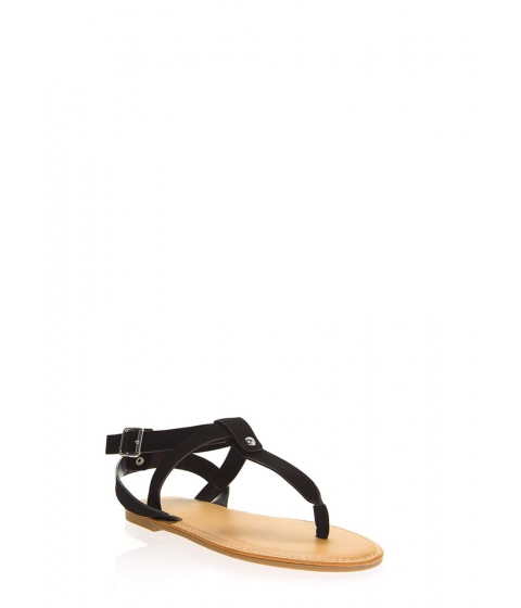 Incaltaminte Femei CheapChic Coastline Faux Nubuck T-strap Sandals Black