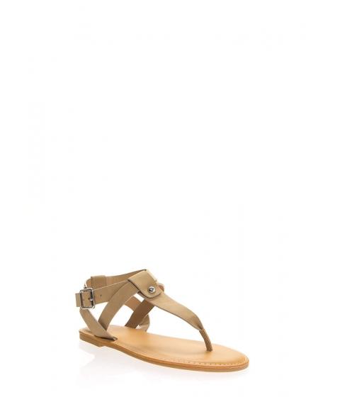 Incaltaminte Femei CheapChic Coastline Faux Nubuck T-strap Sandals Natural