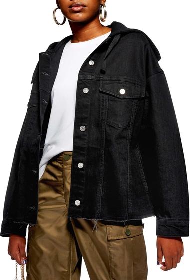 Imbracaminte Femei TOPSHOP Hooded Hybrid Denim Jacket BLACK