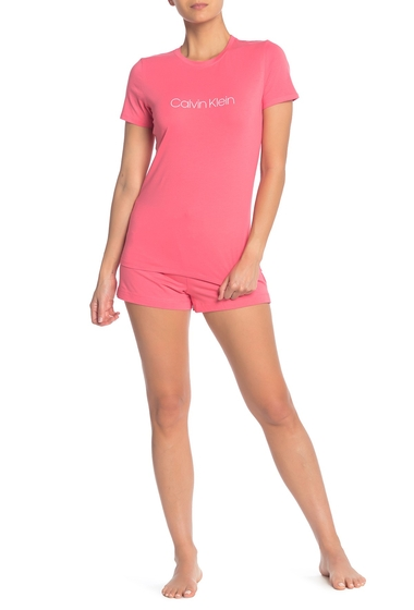 Imbracaminte Femei Calvin Klein Short Sleeve T-Shirt Shorts 2-Piece Pajama Set AFU AFFECTION