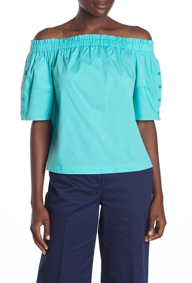 Imbracaminte Femei Laundry by Shelli Segal Off-the-Shoulder Button Sleeve Top BLUE CURACAO