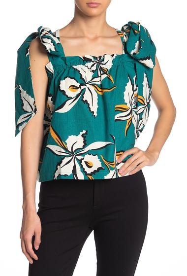 Imbracaminte Femei TOV Tropical Print Linen Blend Tie Strap Top GREEN