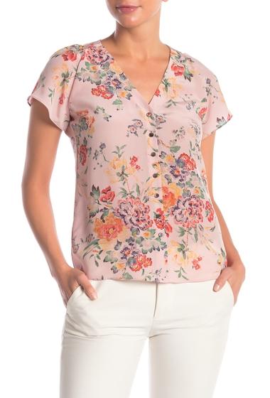 Imbracaminte Femei Rebecca Taylor Marlena Floral Short Sleeve Blouse DUSTY ROSE