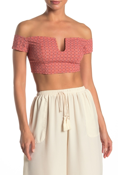 Imbracaminte Femei Free People Lucky Now Brami Off-the-Shoulder Crop Top RED