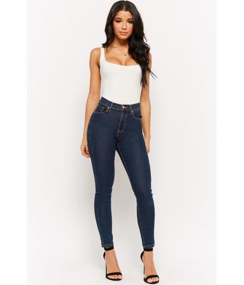Imbracaminte Femei Forever21 High-Waist Skinny Jeans DARK DENIM