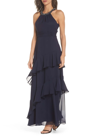 Imbracaminte Femei Eliza J Beaded Halter Tiered Chiffon Gown Regular Petite NAVY