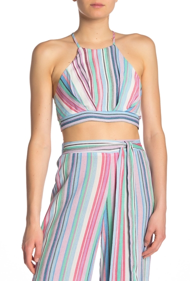 Imbracaminte Femei Know One Cares Striped Back Tie Crop Top PINK BLUE
