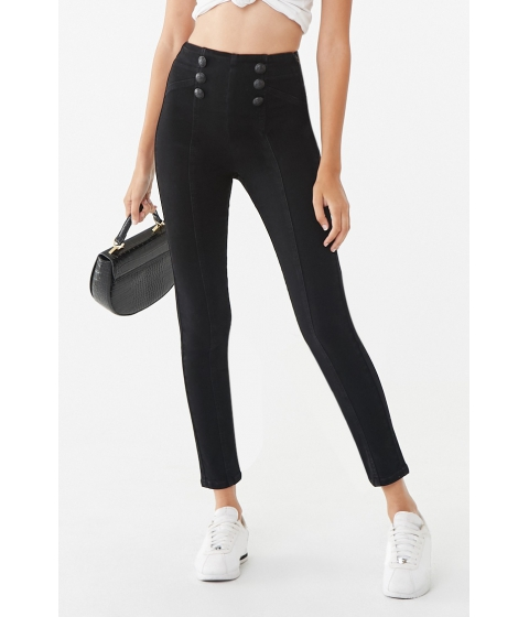 Imbracaminte Femei Forever21 Double-Breasted Skinny Jeans BLACK