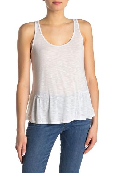 Imbracaminte Femei Michael Stars Scoop Neck Side Ruffle Tank Top WHITE