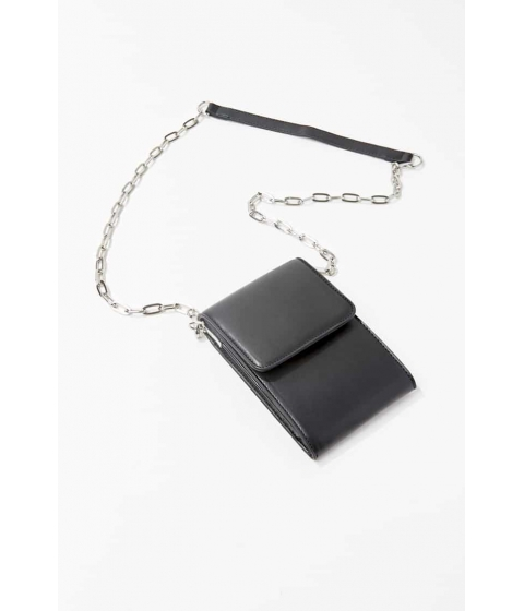 Genti Femei Forever21 Faux Leather Chain-Trim Crossbody BLACK