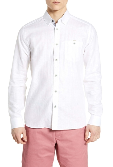 Imbracaminte Barbati Ted Baker London Emuu Slim Fit Linen Shirt WHITE