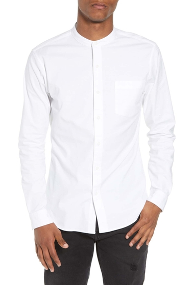 Imbracaminte Barbati TOPMAN Muscle Fit Band Collar Shirt WHITE