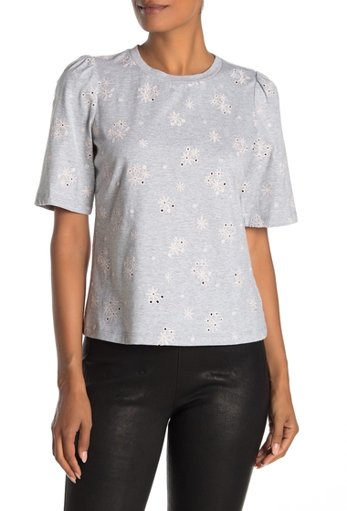 Imbracaminte Femei Rebecca Taylor Dree Floral Embroidered Crew Neck T-Shirt GREY MELANGE
