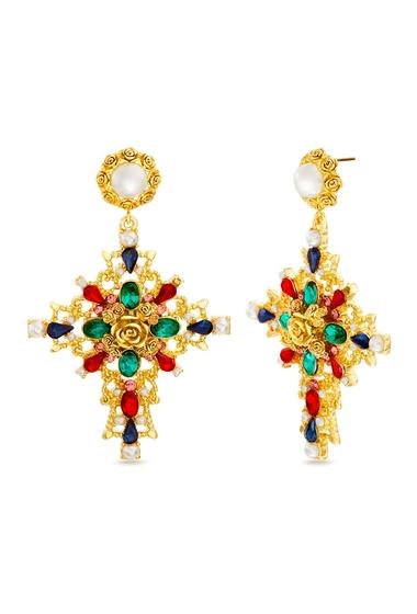Bijuterii Femei Steve Madden Roman Cathedral Inspired Cross Dangle Earrings GOLD