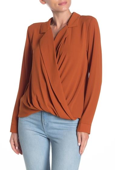 Imbracaminte Femei Lush Surplice Notched Long Sleeve Blouse RUST