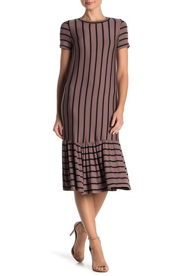 Imbracaminte Femei Cotton Emporium Striped Ruffle Hem Midi Dress MOCHA
