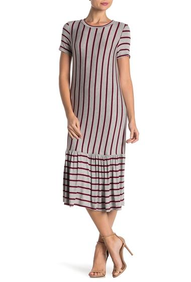 Imbracaminte Femei Cotton Emporium Striped Ruffle Hem Midi Dress WINE