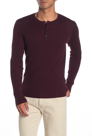 Imbracaminte Barbati John Varvatos Star USA Ribbed Knit Long Sleeve Henley WINE
