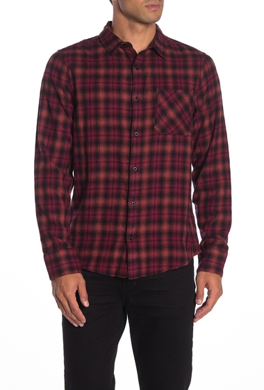 Imbracaminte Barbati Public Opinion Plaid Flannel Shirt BLACK RED EARL OMBRE