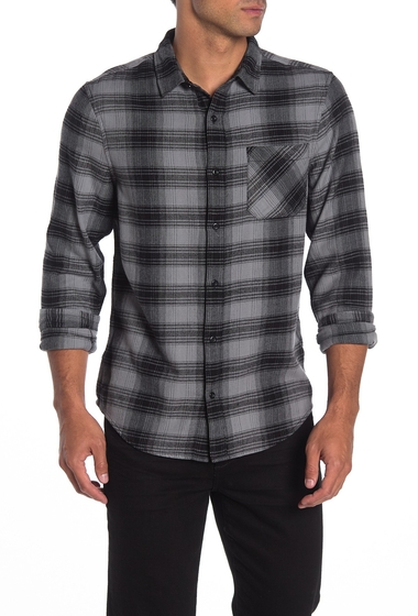 Imbracaminte Barbati Public Opinion Plaid Flannel Shirt GREY BLACK HALF OMBRE