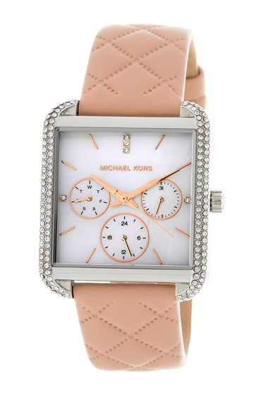 Ceasuri Femei MICHAEL Michael Kors Womens Drew Mother of Pearl Leather Strap Watch 33mm x 39mm NO COLOR
