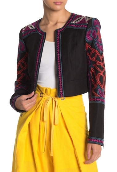 Imbracaminte Femei BCBGMAXAZRIA Embroidered Cropped Jacket BLACK