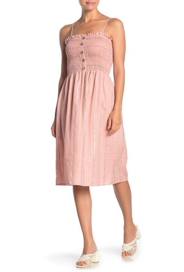 Imbracaminte Femei Angie Metallic Stripe Smocked Bodice Midi Dress BLUSH