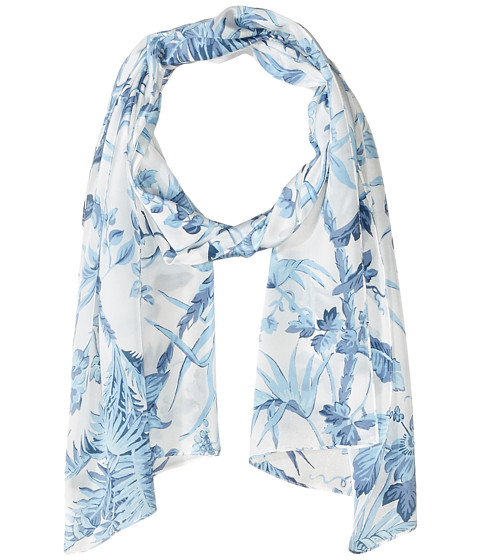 Accesorii Femei Echo Design Tropical Toile Silk Oblong Scarf Coastal Blue