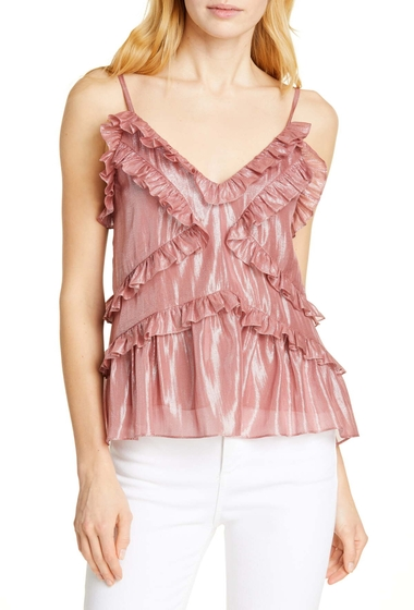 Imbracaminte Femei Rebecca Taylor Ruffle Detail Metallic Silk Blend Camisole ROSE