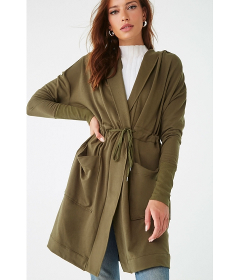Imbracaminte Femei Forever21 Hooded Drawstring Trench Coat DARK OLIVE