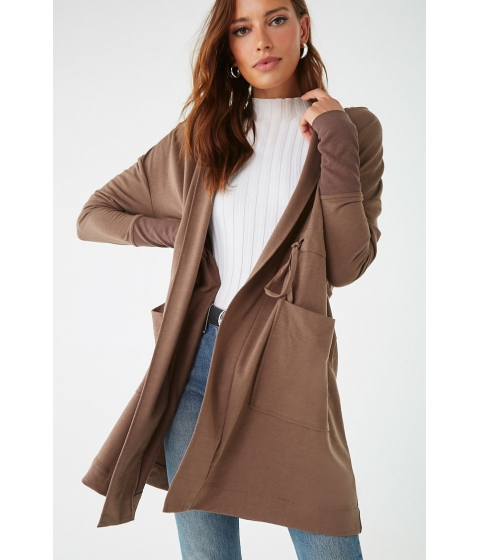 Imbracaminte Femei Forever21 Hooded Drawstring Trench Coat LIGHT BROWN