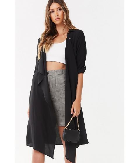 Imbracaminte Femei Forever21 Semi-Sheer Longline Jacket BLACK