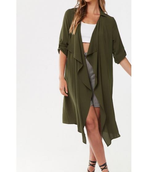 Imbracaminte Femei Forever21 Semi-Sheer Longline Jacket OLIVE