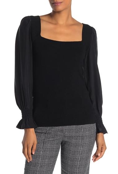 Imbracaminte Femei Rebecca Taylor Silk Sleeve Merino Wool Sweater BLACK