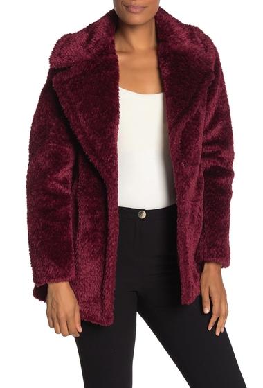 Imbracaminte Femei French Connection Faux Fur Notch Collar Coat BURGUNDY