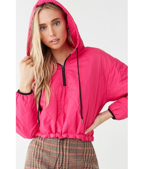 Imbracaminte Femei Forever21 Quilted Zip-Up Hoodie PINKBLACK