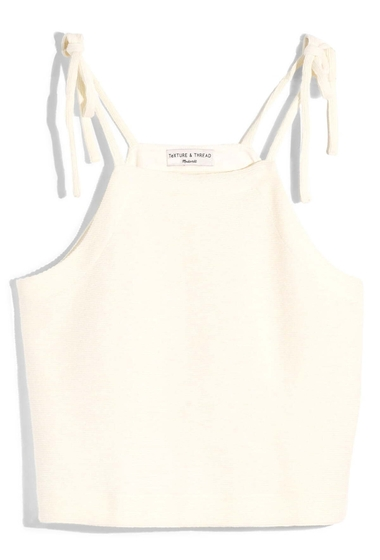 Imbracaminte Femei Madewell Texture Thread Tie Shoulder Tank Top BRIGHT IVORY