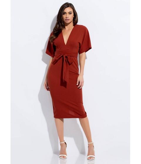 Imbracaminte Femei CheapChic Cut-out For This Tied Dolman Midi Dress Rust