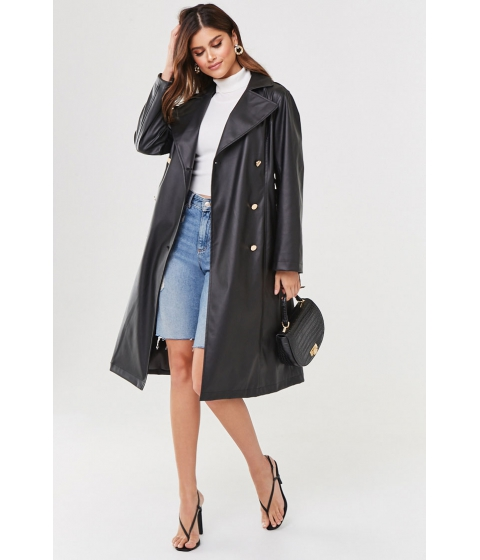 Imbracaminte Femei Forever21 Faux Leather Trench Coat BLACK