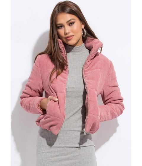 Imbracaminte Femei CheapChic Puff Piece Padded Corduroy Jacket Mauve