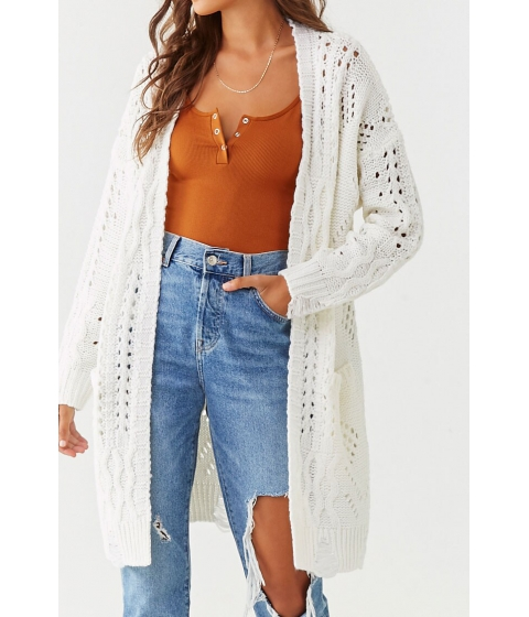 Imbracaminte Femei Forever21 Longline Cable-Knit Cardigan IVORY